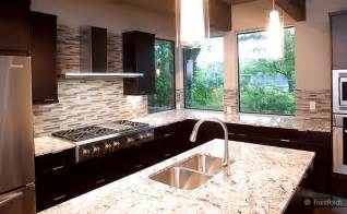 Modern Kitchen Countertops And Backsplash by Modern Backsplash Tile Espresso Cabinet Gold Countertop