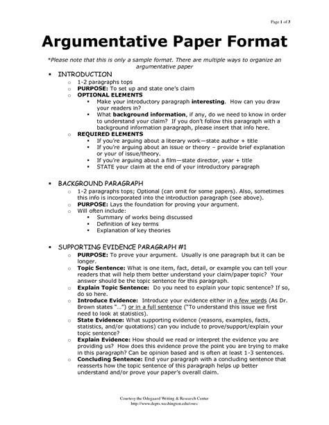 Argumentative Briefformat Outline Of Argumentative Essay Sle Search My