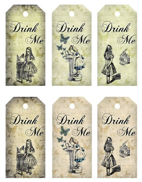 printable drink tags drink me 2x4 in vintage alice in wonderland tags digital