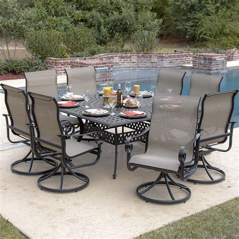 La Salle 9 Piece Sling Patio Dining Set With Swivel 8 Chair Patio Set