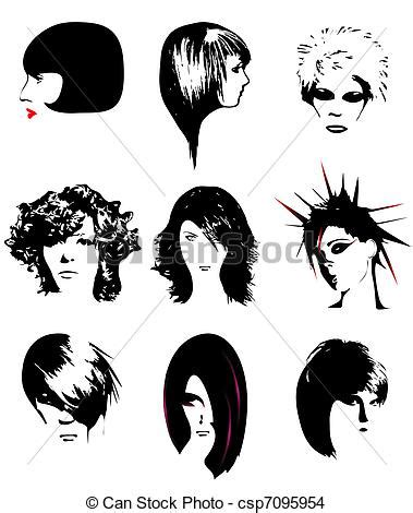 graphics design haircuts eps vector of women hairstyle isolated on white background