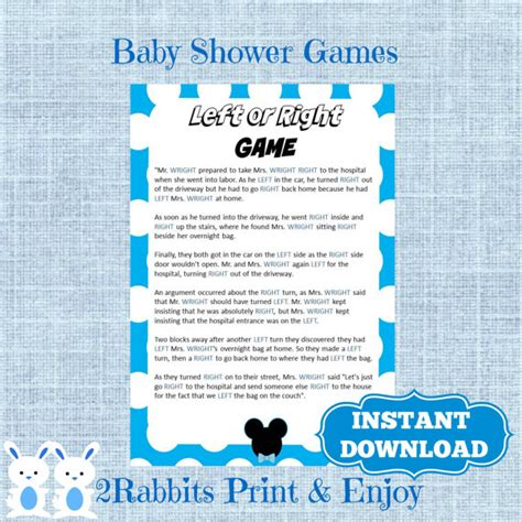Right Left Baby Shower by Mickey Mouse Left Or Right Baby Shower Instant