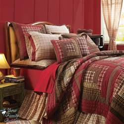 California King Bedspreads Quilts Red Rustic Log Cabin Plaid Twin Queen Cal King Size Lodge