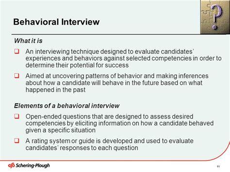 behavior pattern questions interview skills training ppt download
