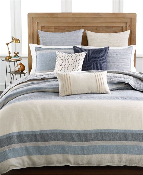 macy s bed and bath hotel collection linen stripe duvet covers only at macy s