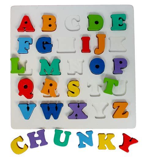 puzzle chunky alphabet huruf besar mainan kayu
