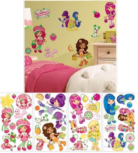 strawberry shortcake bedroom decor strawberry shortcake peel and stick wall stickers