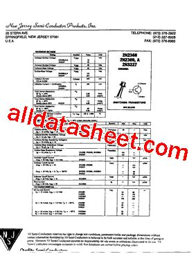 Transistor 2n2369 2n2369 datasheet pdf new jersey semi conductor products inc