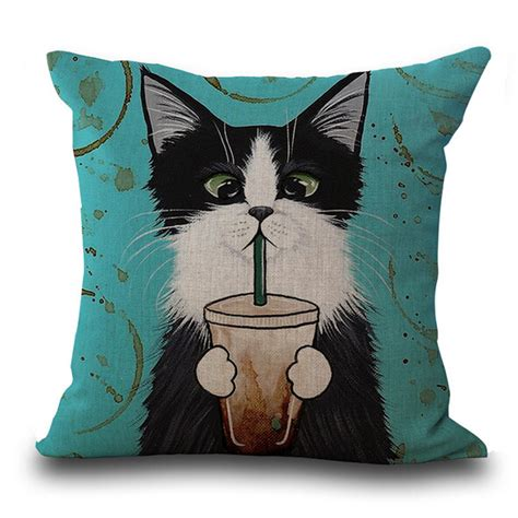 throw up on cushion cool glasses cat pattern throw pillow cushion cover