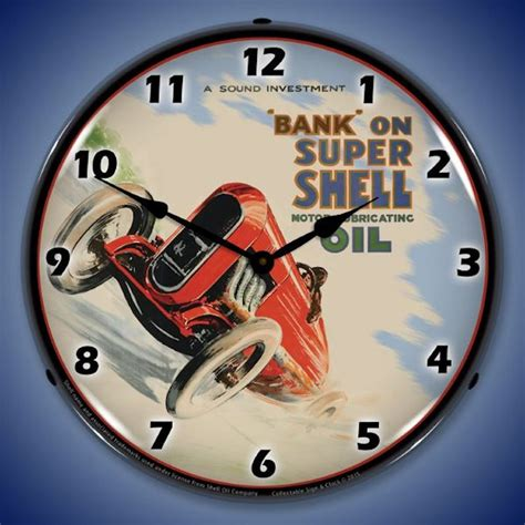themes clock car gas station and motor oil theme wall clocks lighted
