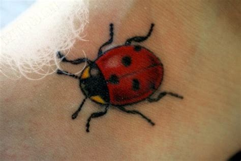 lady bug tattoo yellow ladybug on neck