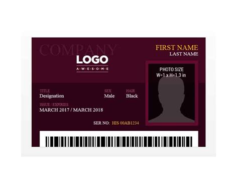 Template For Id Card Free