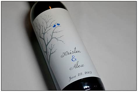 wedding wine label custom lovebird wine by