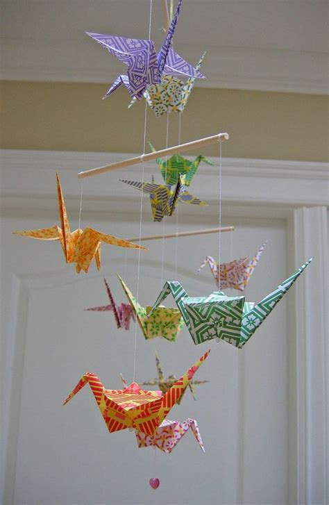 Origami Home Decor - origami crane mobile colourful chiyogami print papers