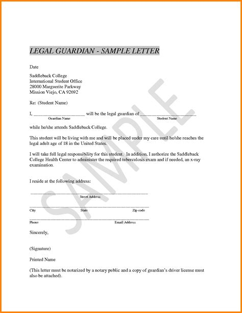 Release Of Guardianship Letter 11 Sle Notarized Letter For Guardianship Ledger Paper