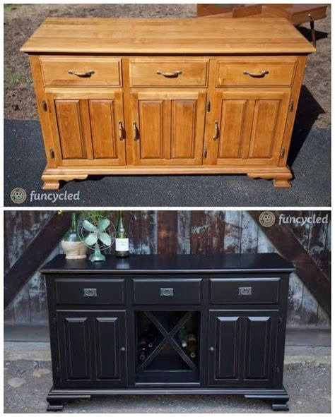 wine bar made from an old buffet or the base of a hutch by