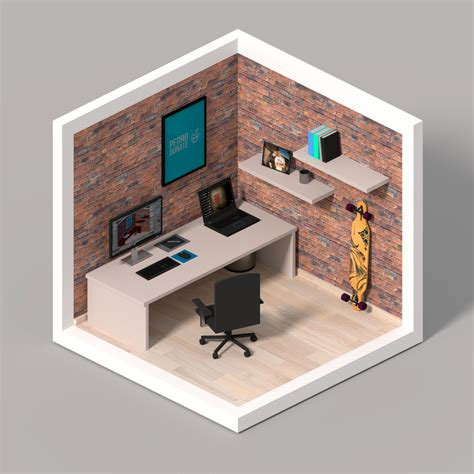 room 3d isometric 3d room pedro donate