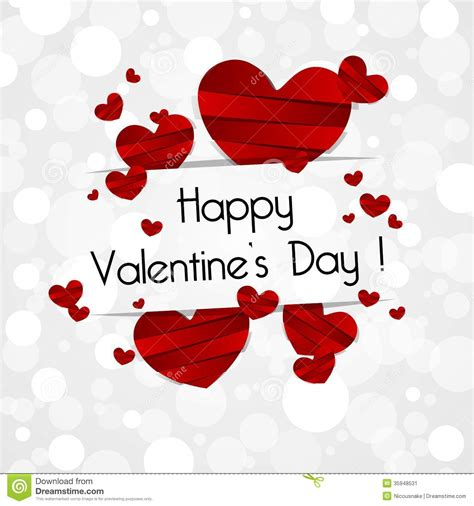 happy valentines cards happy valentines day card paper hearts vec 12264