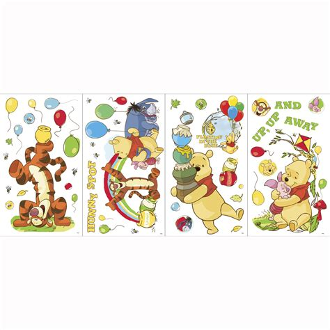 wall stickers winnie the pooh winnie the pooh bedroom decor worry free day wall stickers at toystop