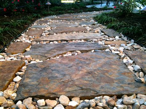 rock pathways flagstone pathway traditional landscape austin by