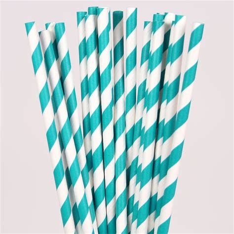 Decorative Garlands Home teal amp white striped paper straws pipii