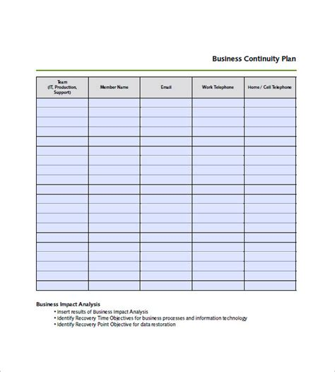 continuity template business continuity plan template 12 free word excel