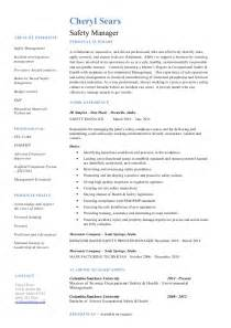 Safety Manager Resume by Cheryl Sears Safety Manager Resume