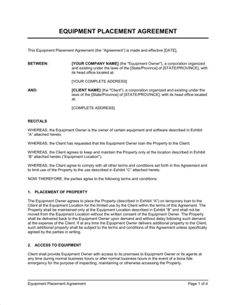 placement agreement template equipment placement agreement template sle form