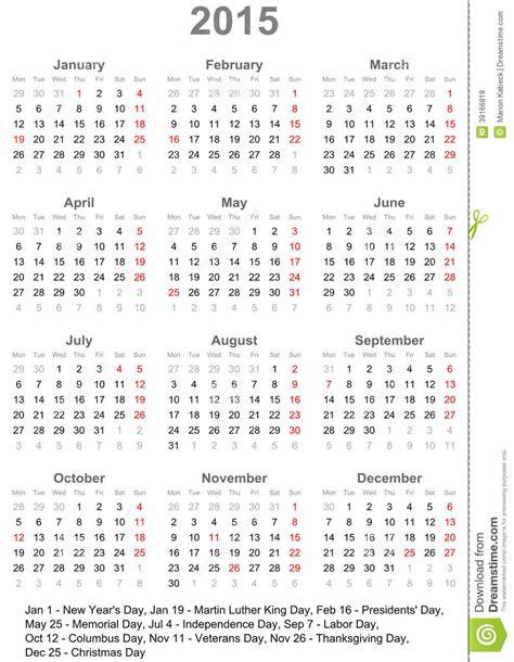 calendario 2015 para los e e u u ilustraci 243 n vector