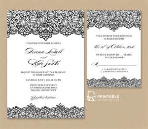 wedding invite template black lace vintage wedding invitation and rsvp wedding
