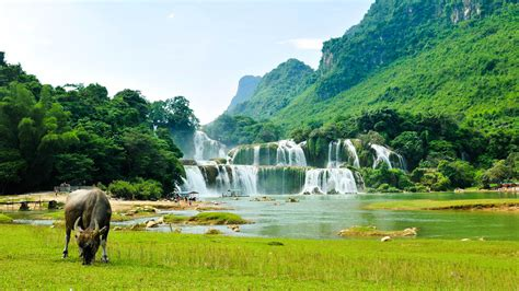 ban gioc detian falls river son desktop wallpaper hd