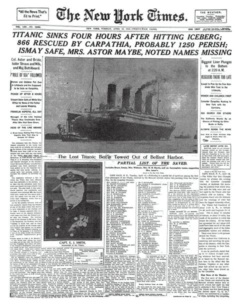 new year article how news of the titanic disaster titanic 100