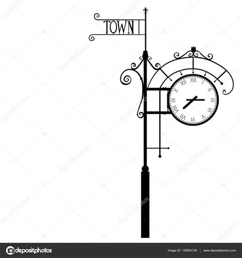 clock layout vector vintage street numeral clock vector illustration isolated