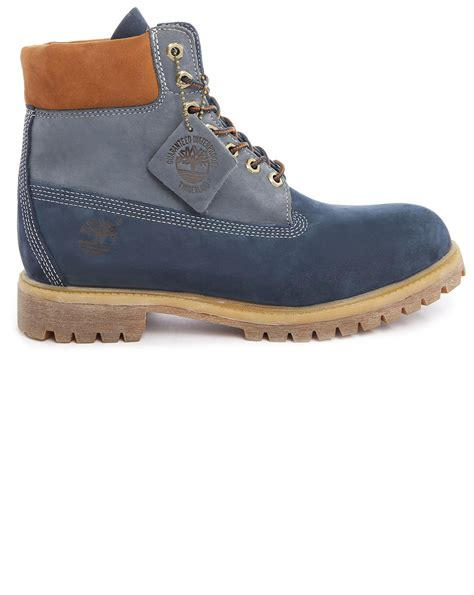 timberland boots blue mens timberland premium nubuck 6 inch blue contrasted with rust