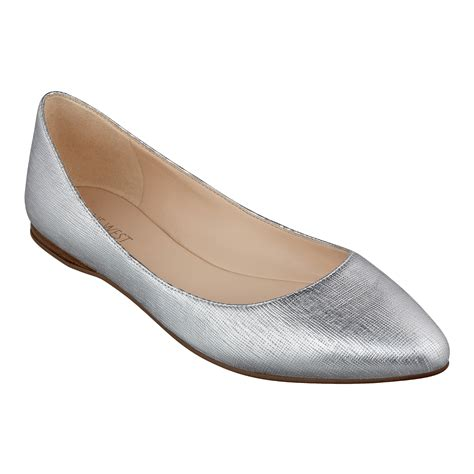 pointy flats shoes nine west speakup pointy toe flats in silver silver