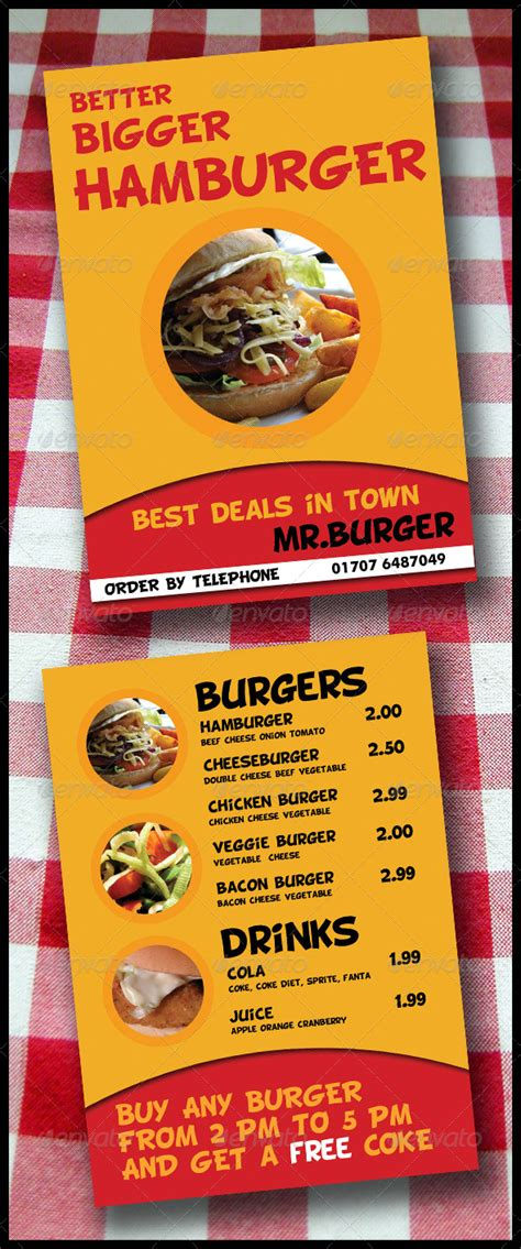 takeaway menu template take away menu flyer 2 pages a5 brochure graphicriver