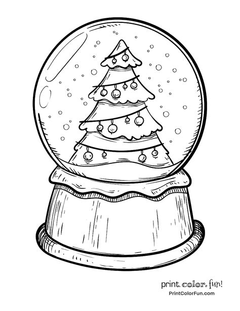 snow globe with a christmas tree coloring page print