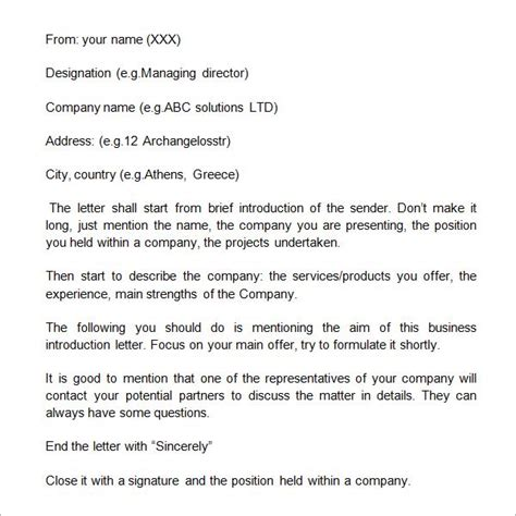 business introduction letter by email business self introduction letter earn