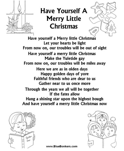 bluebonkers christmas lyrics bluebonkers yourself a merry free printable carol lyrics