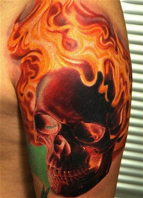 fire skull tattoo designs flaming skull but many shades of black pink and