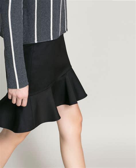 Skirt Ruffle zara pencil skirt with ruffle in black lyst
