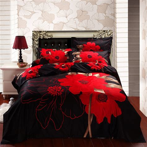 red and black bedding sets red flowers black wedding 3d bed in a bag queen sheet sets