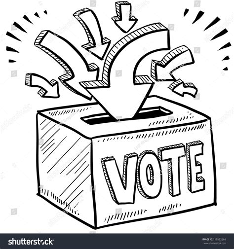 Doodle Style Ballot Box Vote Election Stock Vector
