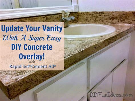 Bathroom Vanity Countertops Ideas Diy Concrete Counter Overlay Vanity Makeover