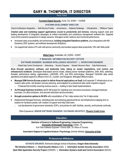 director resume template professional it director resume sle recentresumes