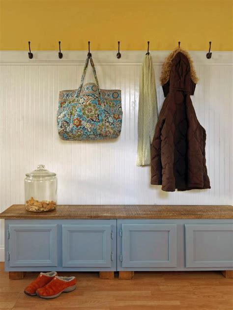 how to build a mudroom bench with storage upcycle kitchen cabinets into a storage bench how tos diy