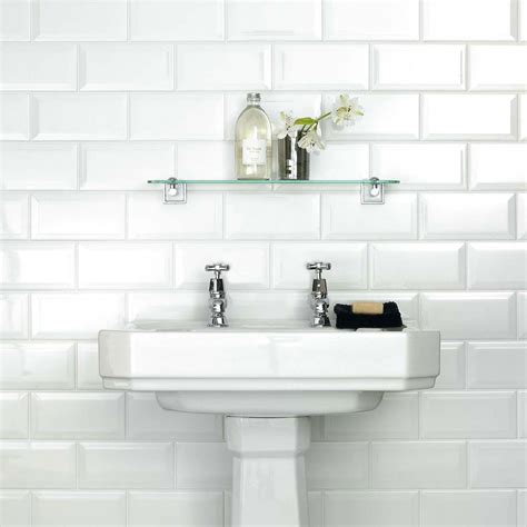 White Bathroom Wall Tile by White Metro Belvelled Wall Tiles Crown Tiles