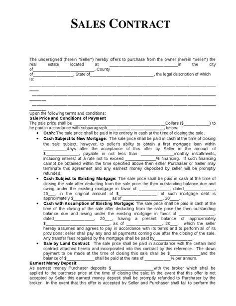 home sales agreement template sales contract new