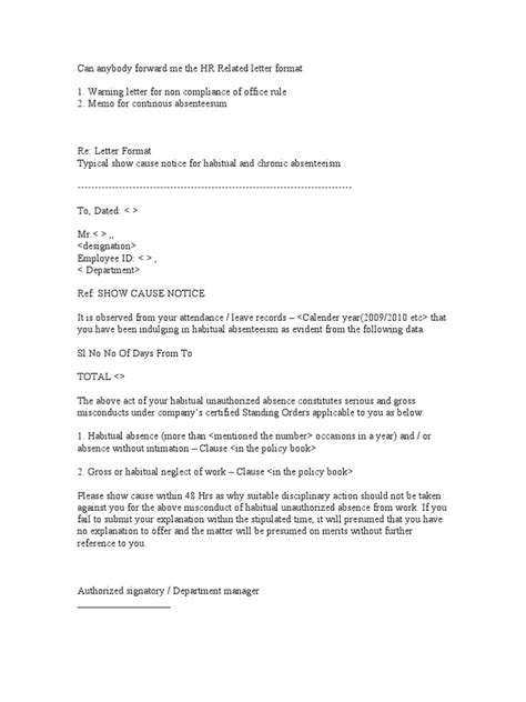 Absence Notice Letter Sle Hr Related Letter Format Human Resource Management Government