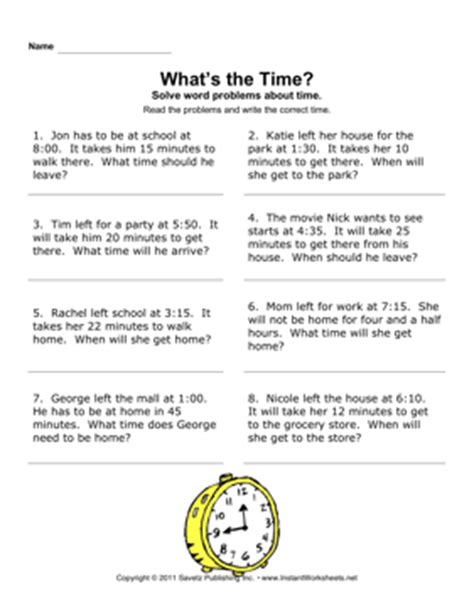 time word problems instant worksheets
